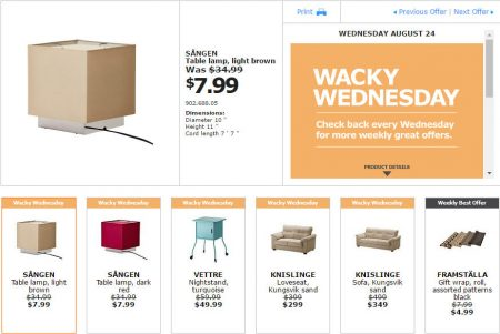 IKEA - Montreal Wacky Wednesday Deal of the Day (Aug 24)